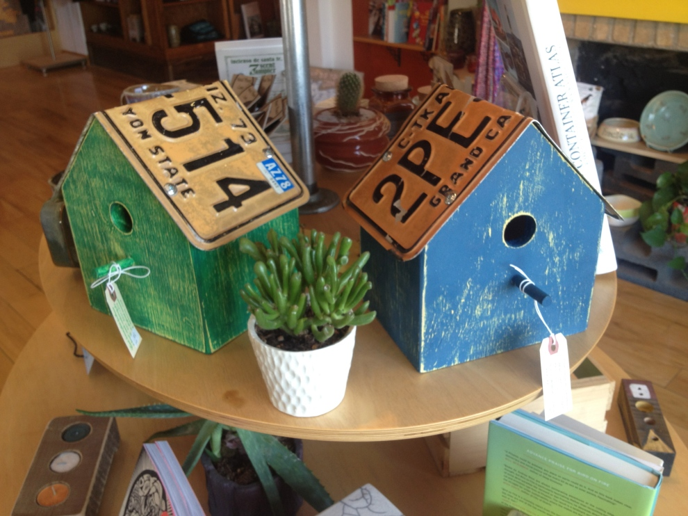 Finished license plate birdhouses at MADE art boutique.